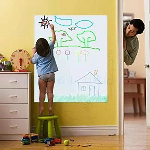 Coavas Removable Whiteboard Sticker for Kids Dry Erase Whiteboard Wall Decal Peel & Stick Message Board Sticker with a Black Pen,17.7x78.74 Inches (Erase Vinyl Dry)