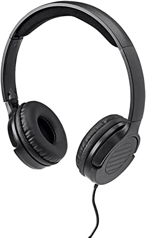 Monoprice 113191 Hi-Fi Lightweight On-Ear Headphones with in-Line Play/Pause Controls and Built-in Microphone, Clear