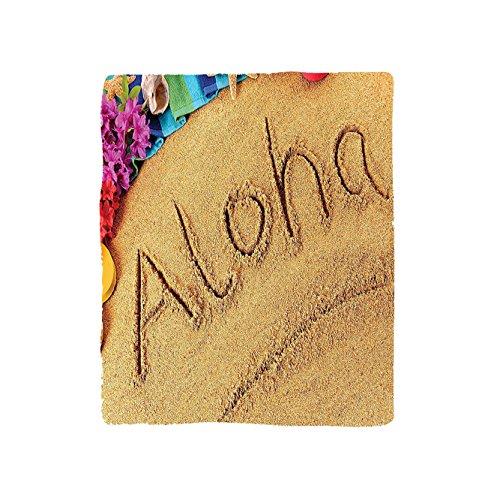 VROSELV Custom Blanket Aloha Beach Summer Vacation Memories Sunny Sand Flowers Home Beach Hawaii Art for Bedroom Living Room Bedroom Dorm Sand Blue Green Fuchsia Red by VROSELV