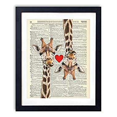 Giraffe Love Vintage Upcycled Dictionary Art Print 8x10