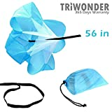 Triwonder 40 or 56 inch Speed Training Resistance Parachute Running Chute Power (Blue - 56in)