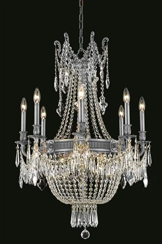 Elegant Lighting Esperanza Collection 12-Light Hanging Fixture with Swarovski Spectra Crystals, Pewter Finish