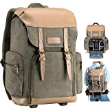 TARION M-02 Canvas Camera Backpack Water-Repellent Camera Bag for DSLR SLR Mirrorless Cameras & Accessories - Colour Green