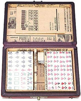 SISHUINIANHUA 144 Azulejos del Mah-Jong Conjunto Divertido del Chino Tradicional Mahjong Juegos de Cartas del Alivio de tensión portátil con la Caja de Familia Fiesta: Amazon.es: Hogar