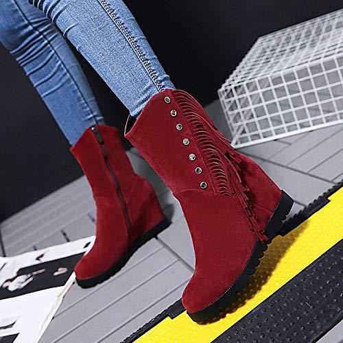 43 rosso pelle 35 in rotonda donna Stivali donna punta da Stivali per taglia scamosciata stivali con con npTFqH