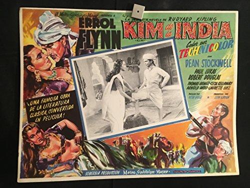 Kim 1950 Original Vintage Mexican Lobby Card Movie Poster, Errol Flynn, Rudyard Kipling, Dean Stockwell, Paul Lukas, Robert Douglas