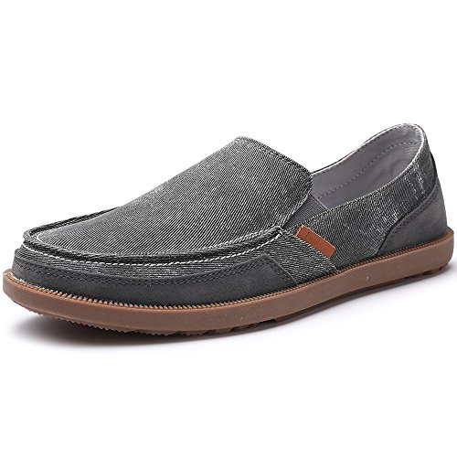Casual Men Shoes Flat (VILOCY Men's Casual Slip on Boat Shoes Comfortable Loafers Flats Canvas Sneakers Driving Shoes Dark Gray 45)