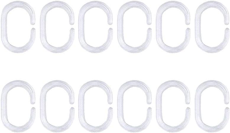 TOPBATHY 24pcs Gancio Tenda Plastica Trasparente Anelli a Forma di C per Tende da Bagno Doccia