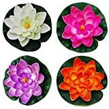 Wowlife 4 Pieces Artificial Floating Water Lily/Lotus Foam Flower Pond Decor (Large)