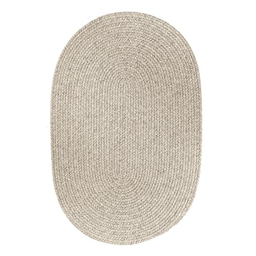 Thick Wool Braided Rug - Super Area Rugs Pura Braided Wool Rug Extra Soft Reversible Gray Colored Carpet, 3' x 5' Oval