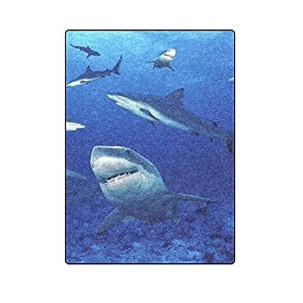 60463e050d Unique BagST Super Soft Warm Personalized Throw Blanket Shark Bed Couch  Fleece Blanket 58X80 Inch