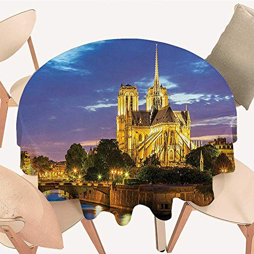 Dragonhome Modern Table Circle Cloth Notre Dame Cathedral