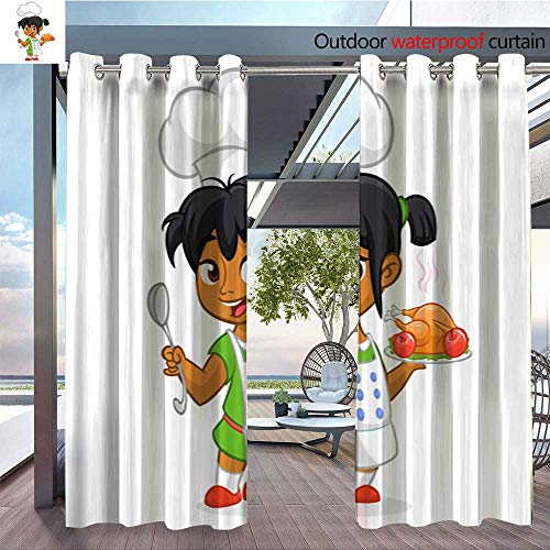 - BlountDecor Outdoor Privacy Curtain for Pergola Cartoon Cute Little Arab or Afro American Girl in Apron Serving Roasted thanksgi Thermal Insulated Water Repellent Drape for Balcony W84 x L96/Pair