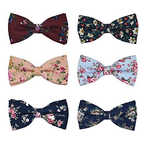 Bow Tie Floral - Men's Bow Ties Adjustable Pre-tied bowties for Boys Man 8 Packs in Gift Box (101M6303)