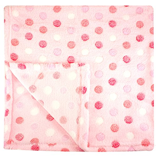 30x30 Inch Plush Fleece Baby Blanket - Assorted Colors Polka Dot Blankets by bogo Brands (Pink)