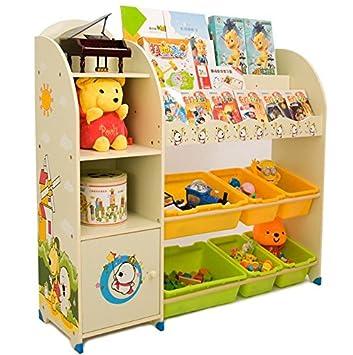 Estantería infantil para libros y juguetes de SZ5CGJMY®, organizador para cajas, vitrina para sala de juegos, dormitorio, muebles infantiles (beige): ...