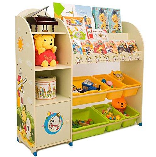 Sz5cgjmy Étagère pour enfants pour livres, jouets avec boîtes de rangement mobilier de chambre d'enfant (Beige)
