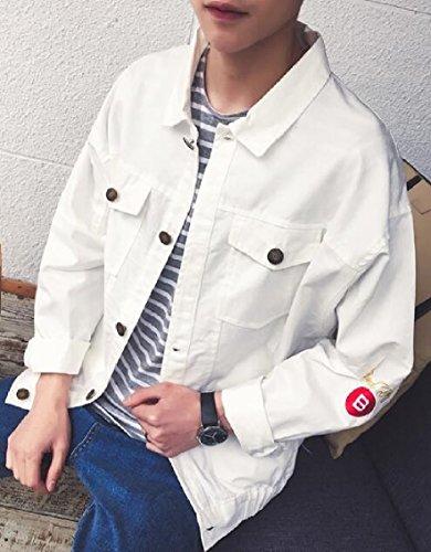 Casual Del Tasche Collare Bianco Lembo Cassa Cappotto Uomini Abbassare Giacca Gocgt ZKypzO