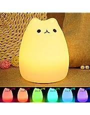 Luce Notturna LED, ikalula molle variopinta del silicone del gatto di notte di ricarica di notte cambia luce automatica del gatto per la camera dei bambini 'Cute Cat Night Light.