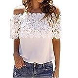 Women Women Off Shoulder Casual Tops Blouse Lace Crochet Chiffon Shirt (large, White)