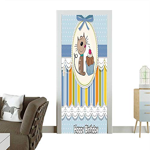 Homesonne Door Art Stickerfor Kids Present Wrap Like Image Chocolate Cake Cat Party Baby Blue and Room decorationW23.6 x H78.7 ()