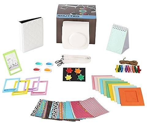 Fujifilm Instax Mini 8/8+, Mini9 WHITE Camera Accessories Bundle,10 Piece Set Includes:Camera Case+Strap,Time Album,Standing Album,Color Lens Set,Hanging+Creative Frames,Fridge Magnets,Sticker (Magnet For Mod)