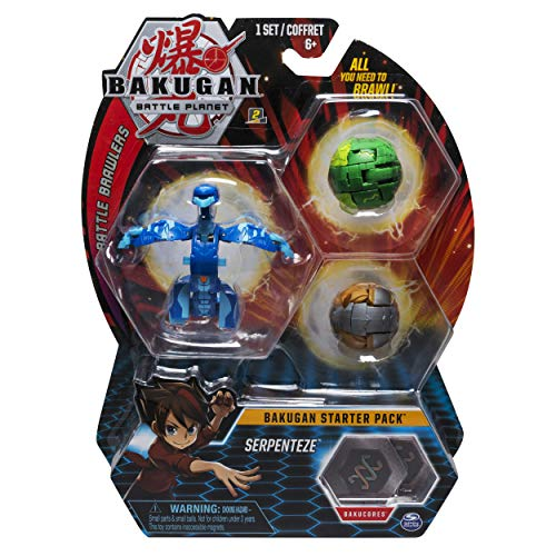 Bakugan Starter Pack 3-Pack, Serpenteze, Collectible Transforming Creatures, for Ages 6 and Up (Battle Toys Brawlers Bakugan)