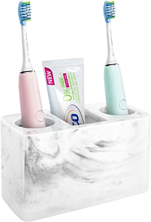 Amazon Com Luxspire Resin Toothbrush Holder 3 Slots Hygienic Handmade Toothbrush Storage Stand Dispenser Bathroom Organizer Set For Electric Toothbrush Toothpaste Razor Ink White Home Kitchen