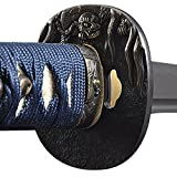 Christmas Sale - Fully Practical Samurai Katana Sword, Turtle Tsuba, Sharp, Fully Hand Forged, 1045 Carbon Steel, Clay Tempered, Full Tang, Blue Scabbard and Handle, Certificate