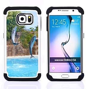 /Skull Market/ - Dolphins sea For Samsung Galaxy S6 G9200 - 3in1 h????brido prueba de choques de impacto resistente goma Combo pesada cubierta de la caja protec -