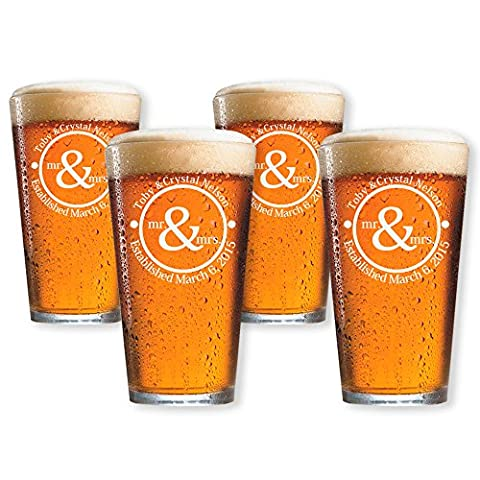 Personalized Pint Glasses, Customized Beer Glass, Set of 4 Housewarming Gifts, Wedding Favors, - Monogram Pint Glass