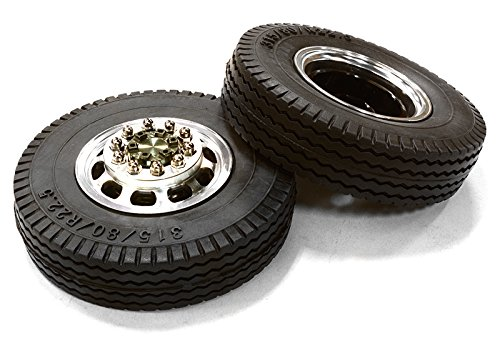 Integy RC Model Hop-ups C26576GUN Machined Alloy T5 Front Wheel & XE Tire Set for Hex Type 1/14 Scale (Maxx Front Tire)