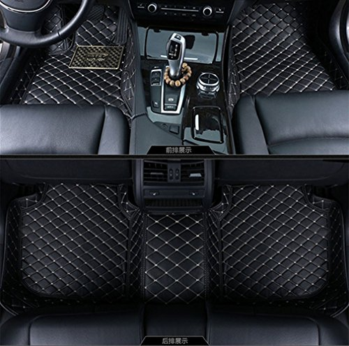 Okutech Custom Fit Luxury XPE Leather Waterproof 3D Full Set Car Floor Mats for Cadillac Escalade 3 Rows (2 seats on the second row), Black with gold ()