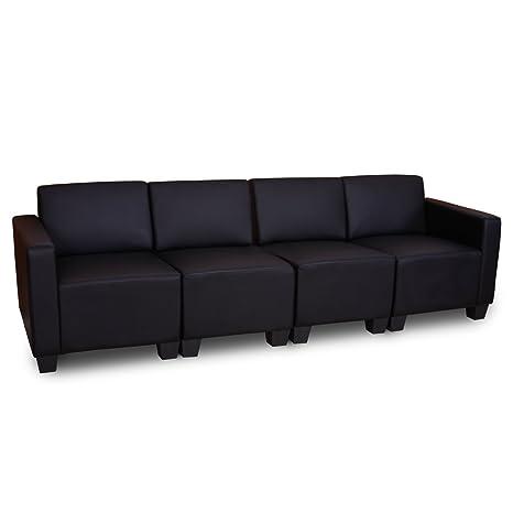 Sistema modulare Lione N71 salotto ecopelle divano 4 posti ~ nero ...