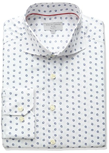 Cutaway Collar Fitted Shirt - English Threads Men's Slim Fit Paisley Dress Shirt, White, 16.5