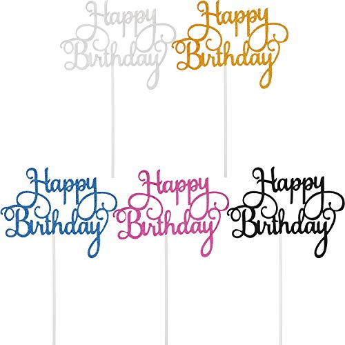 Birthday Cake Topper Happy Birthday Cupcake Pick for Party Decoration (Color Set 1, 25 Pieces)