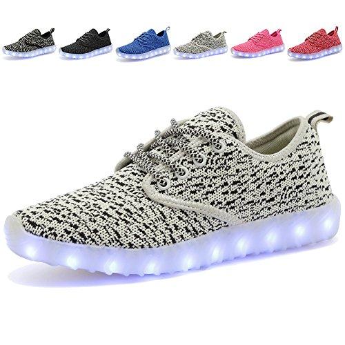 EQUICK Kinder LED Leuchten Schuhe Breathable stricken Kinder Casual Laufschuhe (kleines Kind / großes Kind) 02grau