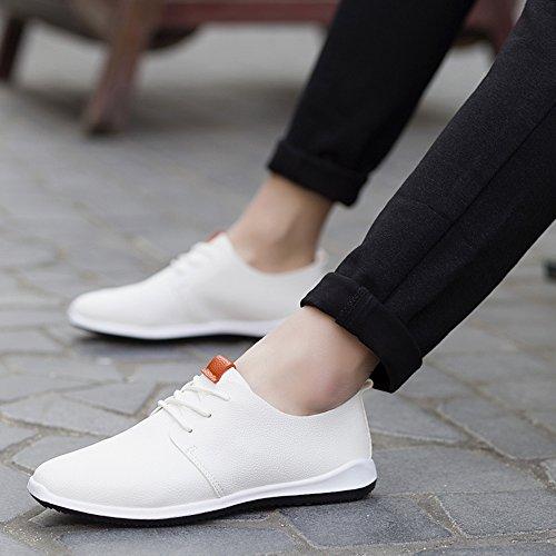 para casual arriba blanco holgazanes Ata cuero de Zapatos los Hombre CUSTOME TIxFwaZ