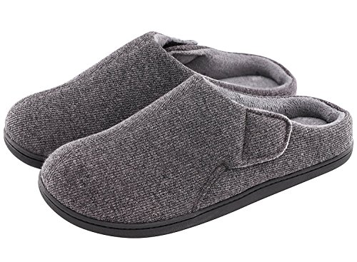 0a78ac5ae Men's Comfort Velvet Memory Foam Slippers Short Plush Clog Indoor & Outdoor  Orthopedic Shoes w/Adjustable Hook&Loop. by VeraCosy