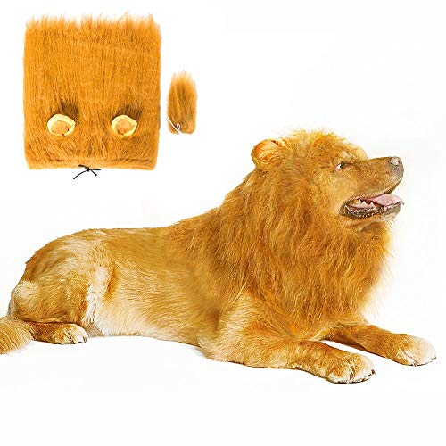 Lovelion Dog Hats - Interesting Dog Costumes Halloween - Dog Lion Mane Gift [Lion Tail] - Lion Wig Suitable Medium to Large Sized Dogs]()