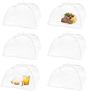 (6 Pack) Omont Pop-Up Food Cover Tents, 17 Inch X17 Inch Food Mesh Cover, Reusable and Collapsible Outdoor Picnic Food Cover Net,Suit for Parties Picnics,BBQs