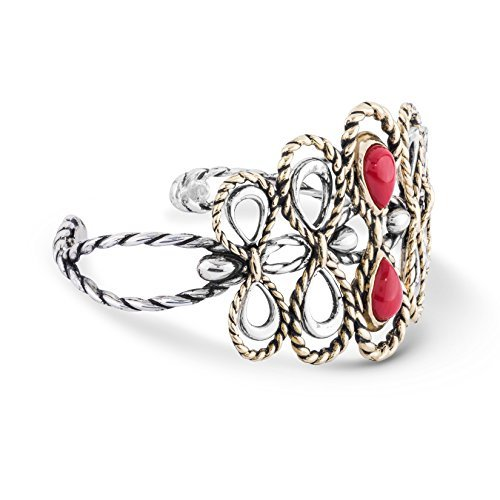 American West Genuine .925 Sterling Silver Brass Red Coral Cuff Bracelet