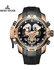 Reef Tiger Mens Sport Watch Rubber Strap Complicated Watches Rose Gold Autoamtic Watches RGA3503 (RGA3503-PBBG)