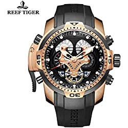Reef Tiger Mens Complicated Watch Black Rose Gold Automatic Watch RGA3503