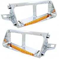 CPW (tm) Freightliner FLD Headlight Bezel Set With 14 Amber LEDs (Left & Right Sides Included)