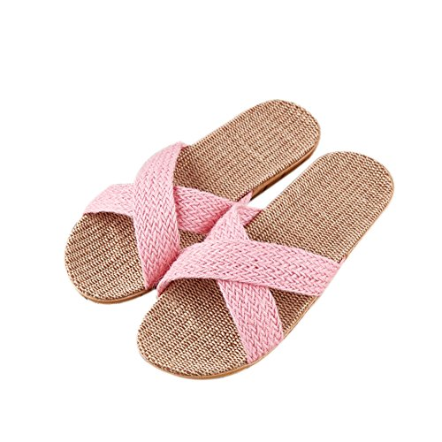Summer Cotton Linen TELLW Spring Slippers Couples Four Winter Shoes Indoor pink Cool 1 women Sandals Suction Proof Sweat Seasons Fall Linen Odor Home Flax vvqUX