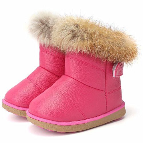 CIOR Fantiny Toddler Girl's Winter Snow Boots Fur Outdoor Slip-on Warm Boots,TXA-88-Rose Red-22 -
