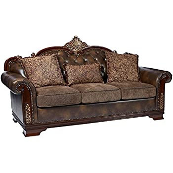 Awesome Homelegance 9815 3 Croydon Traditional Two Tone Sofa 86 W Brown Pu Leather Andrewgaddart Wooden Chair Designs For Living Room Andrewgaddartcom