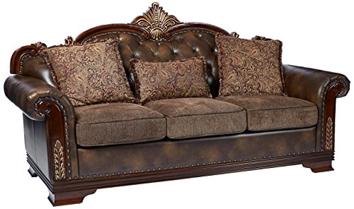 Homelegance 98153 Croydon Traditional TwoTone Sofa 86quot W Brown PU Leather