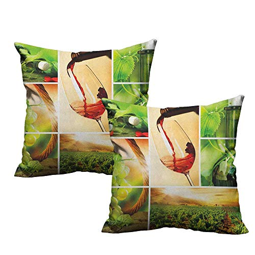 (RuppertTextile Living Room Sofa Hug Pillowcase Wine Wine Tasting and Grapevine Collage Green Fresh Field Pouring Drink Delicious Machine Washable W14 xL14 2 pcs)
